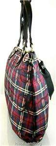NWT COACH POPPY TARTAN GLAM RED BLACK PLAID BAG TOTE 18713 |