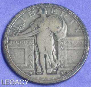 1917 P STANDING LIBERTY QUARTER TYPE 1 90% SILVER (YR