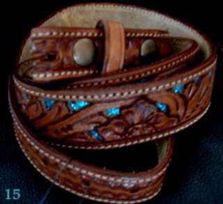 45 approx DARK OIL LEATHER BELT TOOLED WITH GLITTER 7 colors PINK