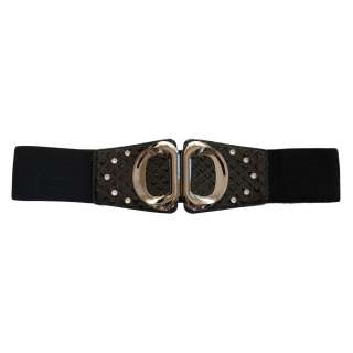 Rhinestone Studded Wide Elastic Plus Size Belt