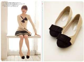 Cute Bowknot Ballet Flats Shoes Girls Womens Japanese Korean Fashion