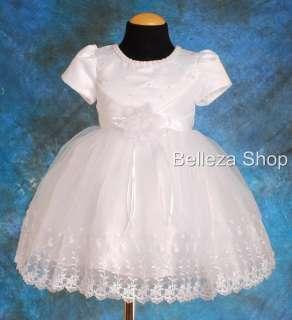 White Wedding Flower Girls Pageant Dress SZ 12 18mo W64
