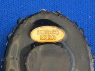 Richard Kerr Black Gold Rhinestone Oval Earrings Clips