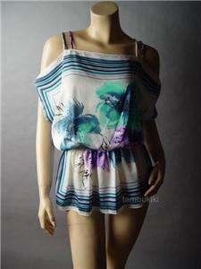 SATIN Posh Scarf Floral Print Open Shoulder Top Shirt S