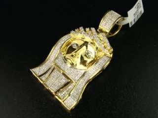 NEW MENS 10K YELLOW GOLD JESUS FACE PAVE DIAMOND CROSS 2.00 CT