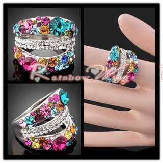 18K Gold Colored Beeds Style Swarovski Crystal GP Ring