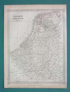1842 ANTIQUE MAP !! Holland Belgium Luxemburg