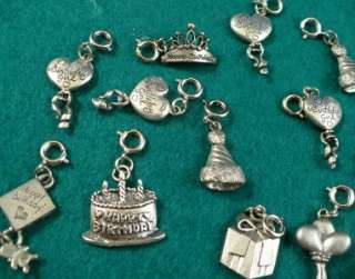 15 Silver Tone Happy Birthday 3D Charms Balloons Party Hats Cake Charm
