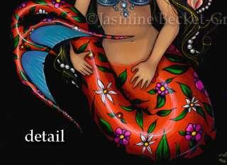 La Sirena mermaid gothic Day of the Dead art BIG PRINT