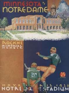 1938 Minnesota vs Notre Dame Football Game Program