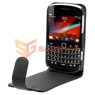 Black Leather Case+Privacy LCD Screen Protector for Blackberry Bold