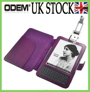 Leather Case Cover Wallet With LED Light for  Kindle 3 3G