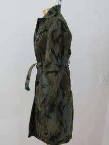 EXCELLENT ESPRIT CAMOUFLAGE ARMY GREEN COTTON LONG TIE LADIES COAT