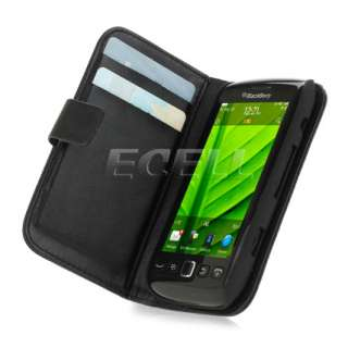 BLACK PROTECTIVE LEATHER FOLIO CASE COVER FOR BLACKBERRY TORCH 9860