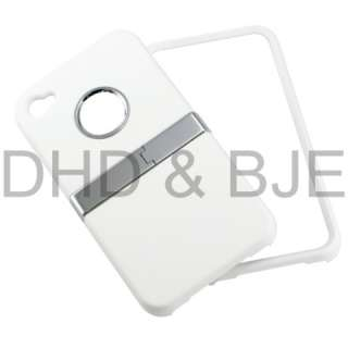 New White Deluxe Rubberized Hard Case Cover for iPhone 4 4S w/ Chrome