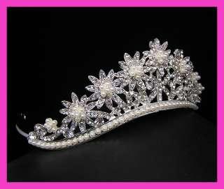 Wedding/Bridal crystal veil tiara crown headband CR225