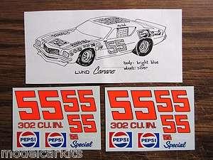 55 Tiny Lund 1970s Pepsi Grand American Camaro Stock Car