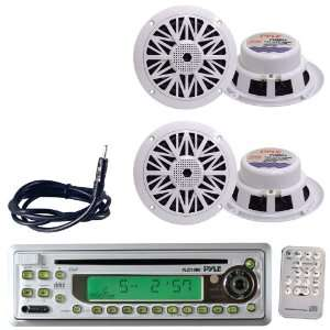 Pyle Marine Radio Receiver, Speaker and Cable Package   PLCD10MR AM/FM