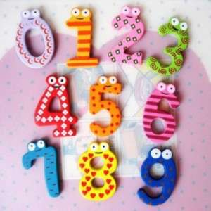 Funny Wooden Cartoon Fridge Magnet 0 9 Numbers (10pcs)
