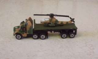 Semi Truck Cab n Flatbed Trailer w Helicopter Military Ground Micro