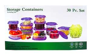 30 Pcs Reusable Plastic Food Storage Containers Set With Air Tight