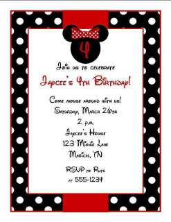 Personalized Minnie Mouse Birthday Party Invitations Red or Pink