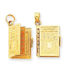 14K Gold Lords Prayer Holy Bible Book Pendant Charm
