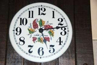 Seth Thomas Wall Clock Red Grapes Kitchen Wine Wood