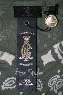 Christian Audigier Skull Roses T Shirt STONES Olive