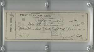 Ty Cobb 1951 Signed autograph Check Signed in Black Ink Detroit Tigers