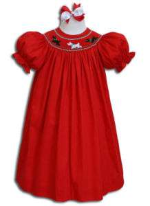 Baby red smocked Scottie Dogs Bishop Dress 3T 3 16472