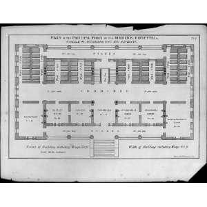 Waters,Design 1,principal floor plan,1837,Robert Mills