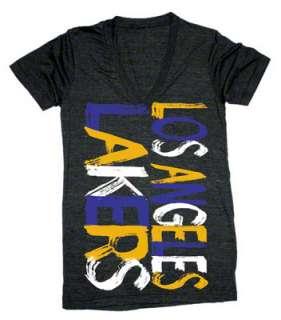 Los Angeles Lakers Womens Black Paint Job Tri Blend V Neck T Shirt