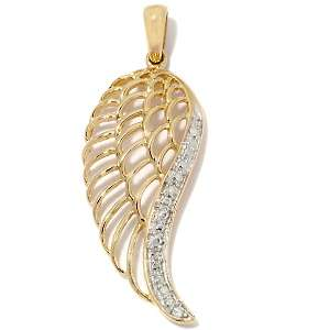 14K Polished Diamond Accented Angel Wing Pendant