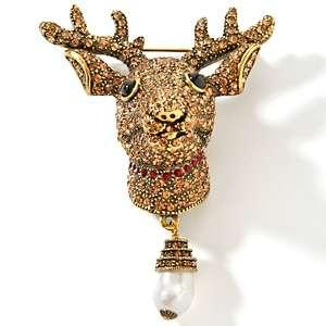 Heidi Daus Blitzen Crystal Accented Reindeer Pin