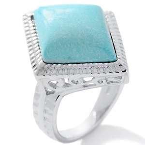 Heritage Gems White Cloud Turquoise Diamond Shape Ring