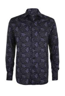 Black Mid Fit Paisley Shirt by PS Paul Smith   Black   Buy Shirts