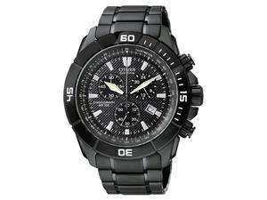 Mens Eco Drive Chronograph Black Ion Plated Base Stainless Steel