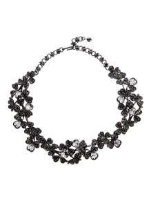 Kenneth Jay Lane  Metal Black Diamond Crystal Heart Necklace by
