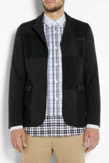 SHIRT  Black Harris Tweed Patch Front Blazer by Comme Des Garcons S