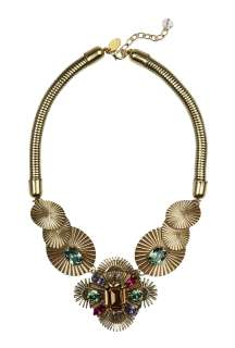 Anton Heunis  Art Deco Disc & Multi Coloured Crystal Necklace by