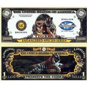 Set of 10 Bills Endangered Tiger Million Dollar Bill Toys & Games