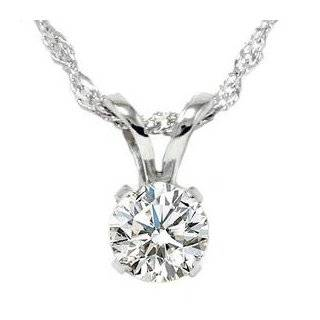 White Gold Solitaire Diamond Pendant Necklace (HI, I2 I3, 0.50 carat
