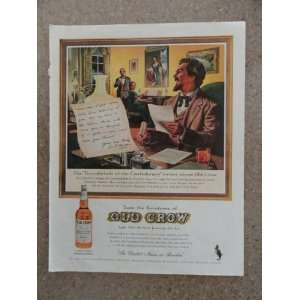 Old Crow Bourbon. Vintage 60s full page print ad. (The Thunderbolt