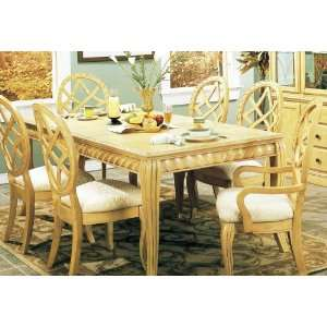 7pc Anique Whie Finish Solid Wood Dining able & Chairs