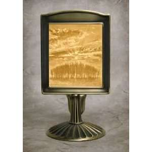 Sunrise Lithophane Mantle Stand Antique Brass