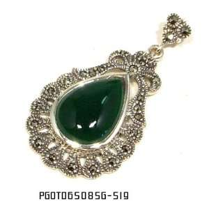 Victorian Antique Style Green Agate & Black Diamond Sterling Silver