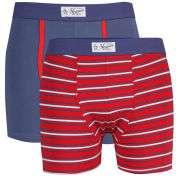 Original Penguin Mens 2 Pack Trunks   Red Stripe/Blue