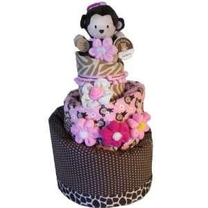 Topsy Turvy Diaper Cake    Baby Girl Monkey Theme Baby
