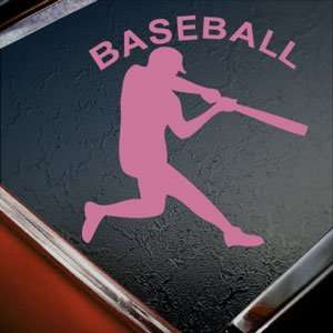 Baseball Batter Pink Decal Car Truck Bumper Window Pink